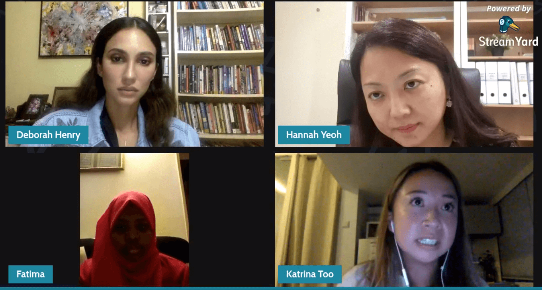 International Womens Day live facebook chat with Hannah Yeoh, Katrina Too and Fugee School student moderated by Deborah Henry